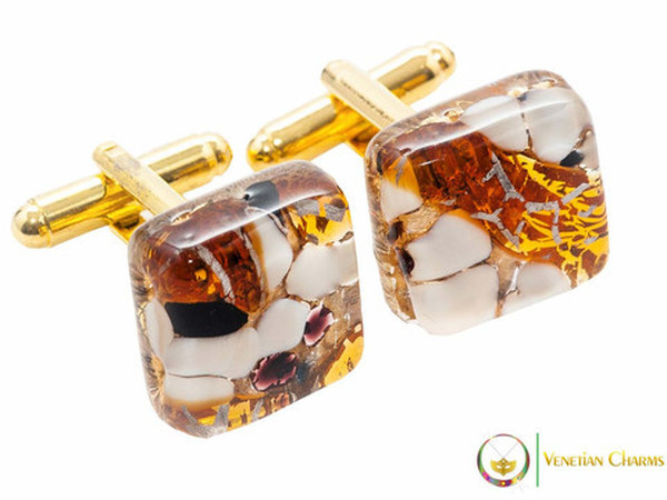 Gold Cufflinks - Amber and White