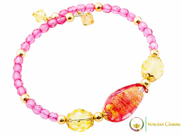 Levante Bracelet - Pink, Gold & Red