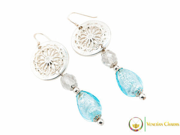 Levante Earrings - Pale Blue and White
