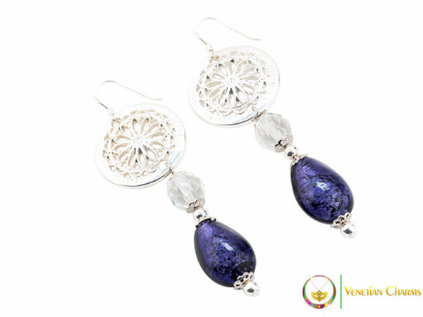 Levante Earrings - Purple & White