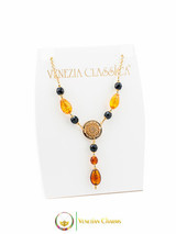Levante Pendant Necklace - Amber, Gold & Black