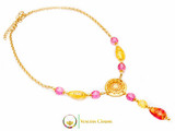 Levante Pendant Necklace - Pink, Gold & Red