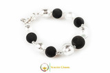 Luxury Glass and Lava Bracelet - Silver and Lava Stone