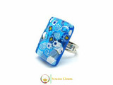 Murano Glass Ring 30x20mm - Azure