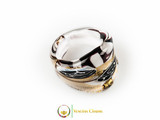 Murano Glass Ring 25mmx23mm, fixed band size - Gold/White/Black