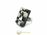 Murano Glass Ring 30x20mm - Black