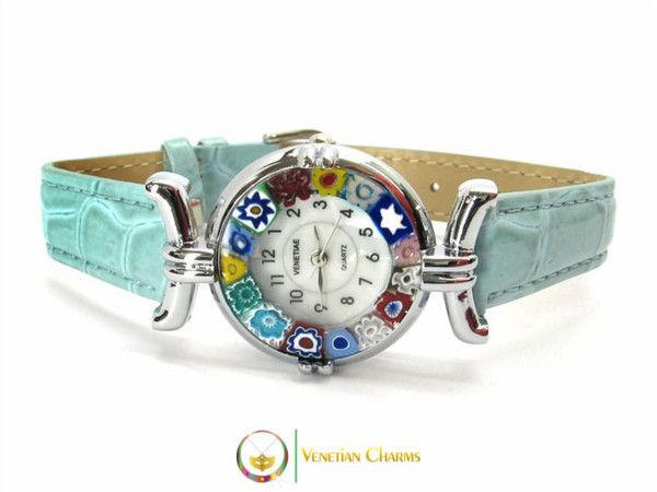One Lady Chrome Murano Glass Watch - Azure