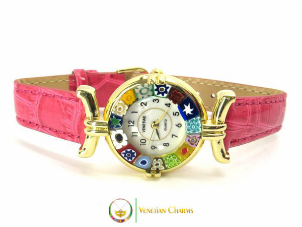 One Lady Gold Murano Glass Watch - Fuschia