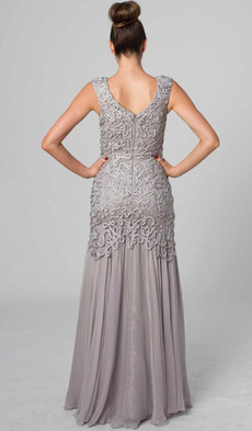 E402 MODERN ELEGANCE LACE & SILK GOWN - SILVER