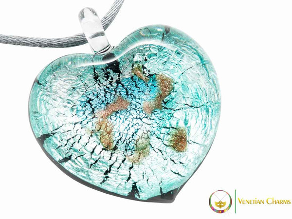 Passione Heart Pendant - Aqua and Silver