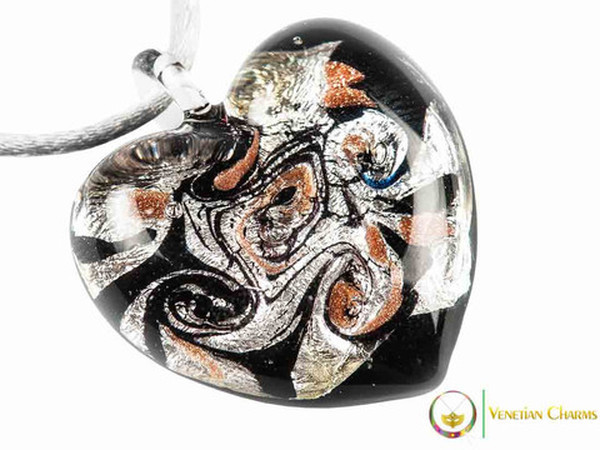 Passione Heart Pendant - Black, White and Orange