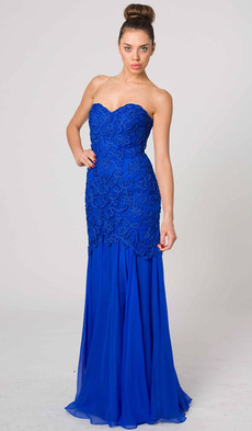 E403 STYLISH SIMPLE SILK GLAMOUR GOWN ROYAL BLUE
