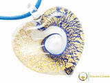 Passione Heart Pendant - Gold, White and Blue