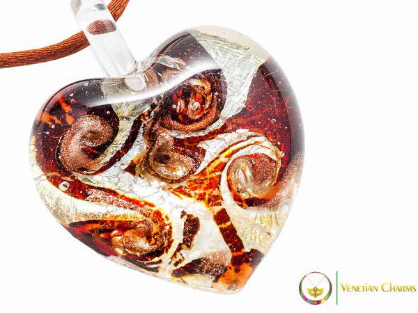 Passione Heart Pendant - Amber and Silver