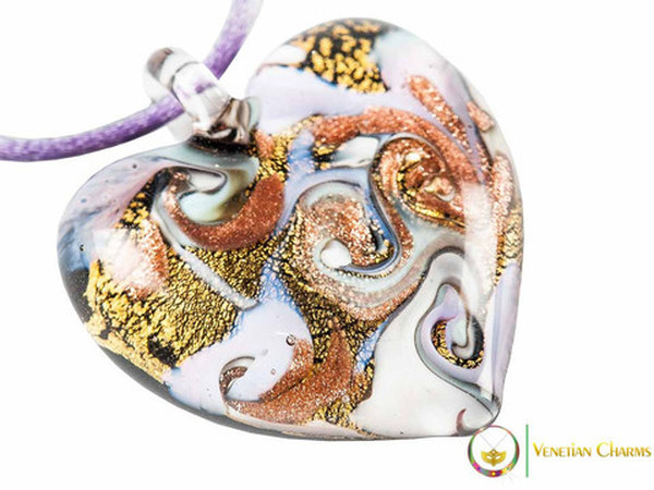 Passione Heart Pendant - Lilac, Pale Blue & Gold