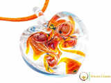 Passione Heart Pendant - Orange, Blue & Silver