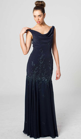 E404 FEMININE LUXURIOUS ELEGANCE EVENING GOWN NAVY BLUE