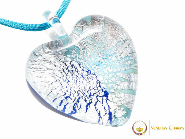 Passione Heart Pendant - Pale Blue and Silver
