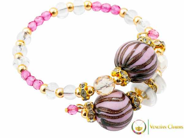Perlage 2 Bracelet - Fuschia, Pink and Gold