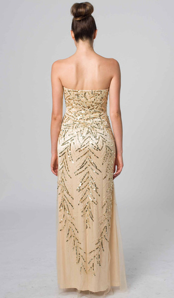 E405 SPECTACULAR STRAPLESS GOLDEN GOWN GOLD