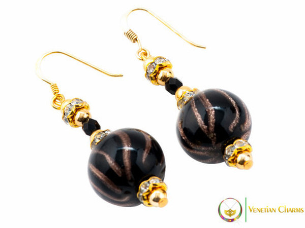 Perlage 2 Earrings - Black & Gold