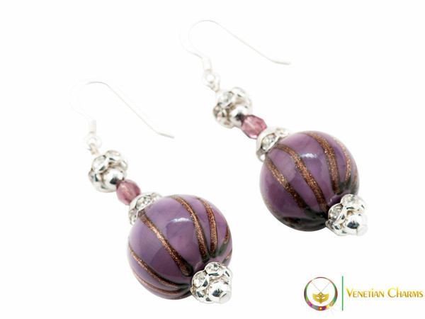 Perlage 2 Earrings - Dark Pink & Gold