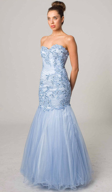 E406 ANGELIC STRAPLESS MERMAID DRESS SKY BLUE