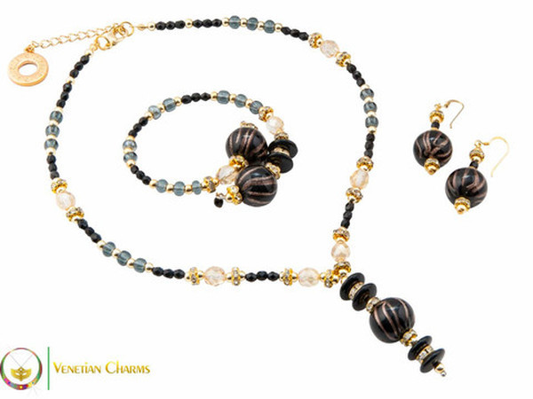 Perlage 2 Pendant Necklace Set - Black, Grey and Gold