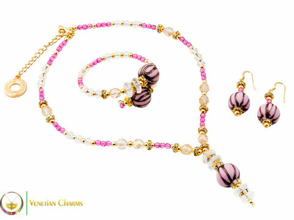 Perlage 2 Pendant Necklace Set - Fuschia, Pink & Gold