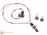 Perlage 2 Pendant Necklace Set - Pink & Purple