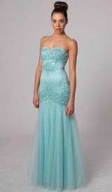 E408 DAZZLING FITTED STRAPLESS EVENING GOWN MINT