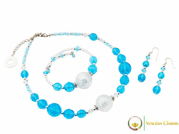 Perlage Necklace Set - Blue & Clear