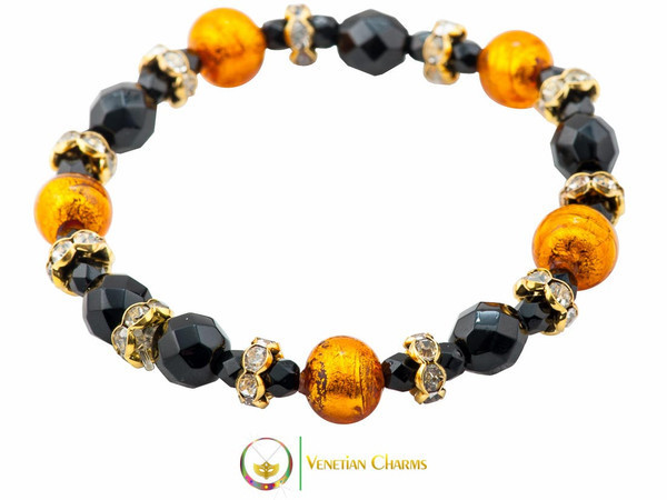 Princess Murano Glass Bracelet - Black & Amber