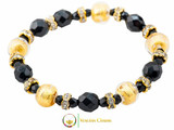 Princess Murano Glass Bracelet - Black & Gold