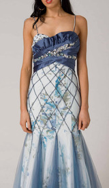 RC109 UNIQUE COUTURE GLAMOUR EVENING GOWN BLUE / WHITE