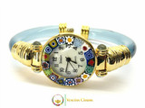 Serenissima Gold Murano Glass Watch - Azure