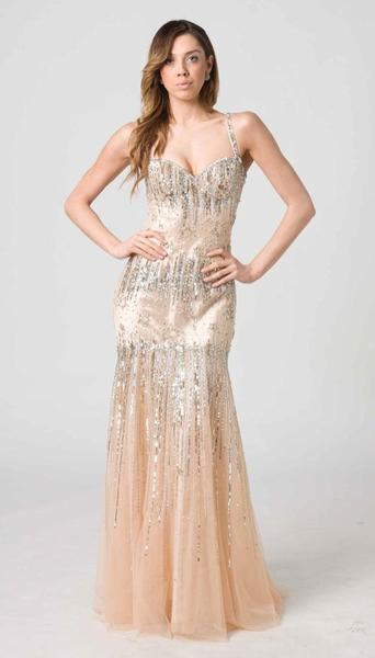 RC204 FITTED CHIC GLAMOUR GOWN NUDE / GOLD