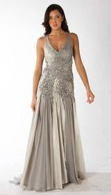 RC301 SATIN & SILK ELEGANCE EVENING GOWN SILVER