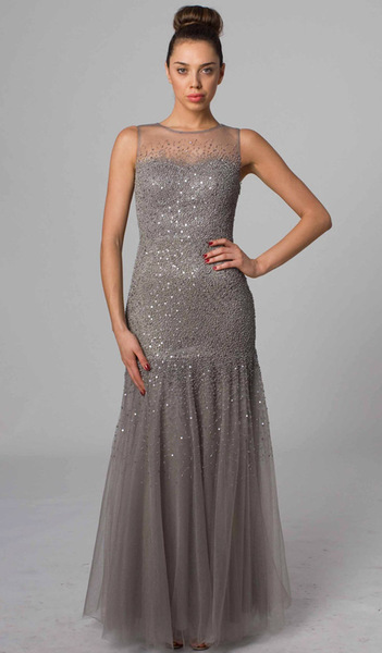 RC46 ALLURING FITTED HAND BEADED EVENING GOWN CHARCOAL