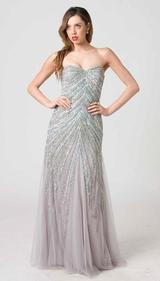 RC205 WRAPPED IN GLAMOUR EVENING GOWN SILVER / MINT