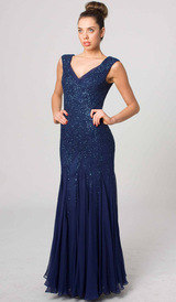 RC41 CLASSIC BEADED SILK GLAMOUR GOWN NAVY