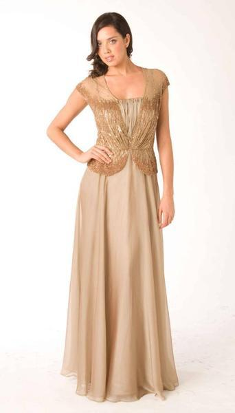 M301 SHEER DREAMY ELEGANCE GOWN TAUPE