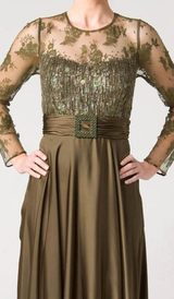M102 EXQUISITELY MODEST LONG SLEEVE FORMAL GOWN OLIVE