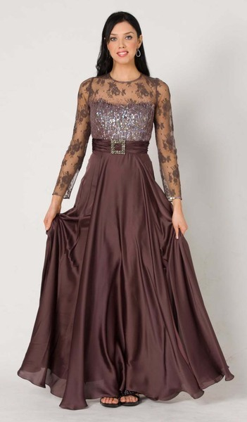 M102 EXQUISITELY MODEST LONG SLEEVE FORMAL GOWN MAUVE