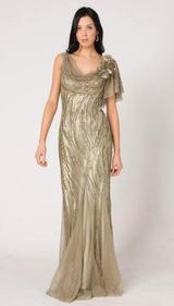 M103A SMOOTH SHIMMERY GLAM EVENING GOWN OLIVE