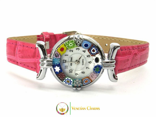 One Lady Chrome Murano Glass Watch - Fuschia