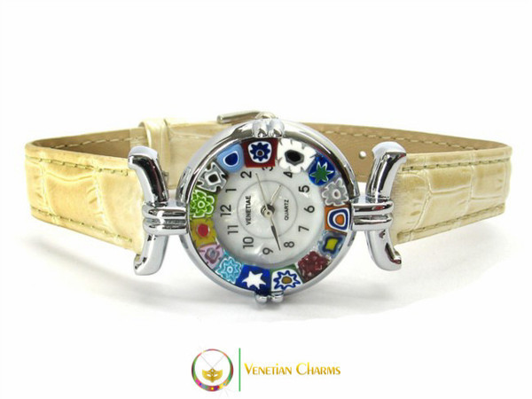 One Lady Chrome Murano Glass Watch - Ivory