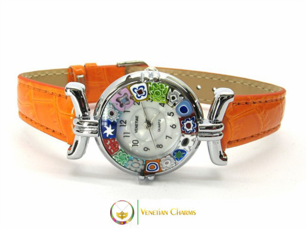 One Lady Chrome Murano Glass Watch - Orange