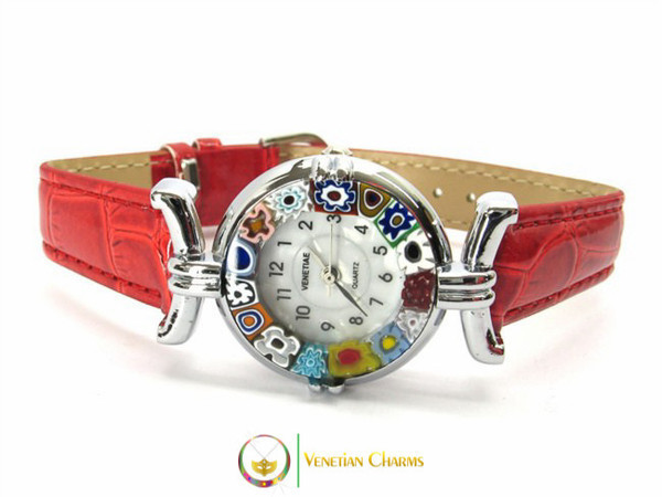 One Lady Chrome Murano Glass Watch - Red