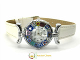 One Lady Chrome Murano Glass Watch - White